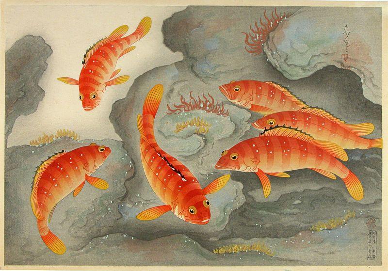 Японские гравюры карп - Гравюра