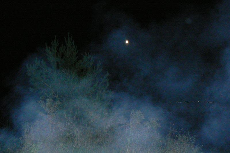 Луна и дымк
