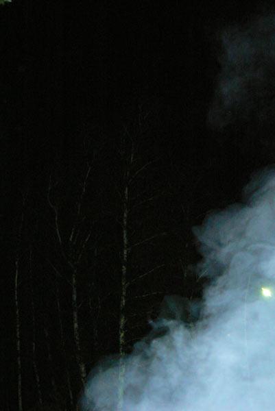 Ночная съемка. Дым от костра
