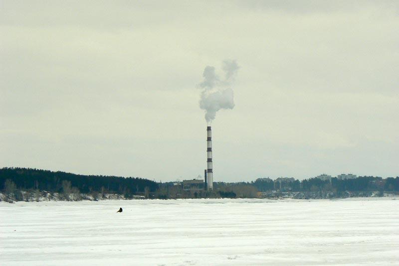 Обское море. 25 марта 2012. ТЭЦ